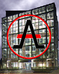 Cato Institute building with Alliance of the Libertarian Left logo superimposed