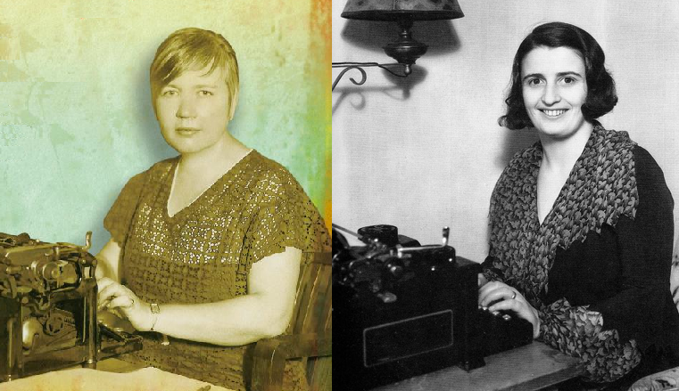 Rose Wilder Lane and Ayn Rand at their respective typewriters
