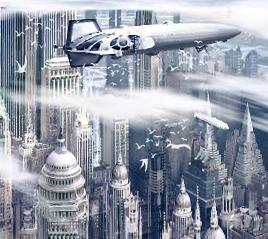 Airship over futuristic city