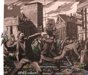 anarchists throwing flowers