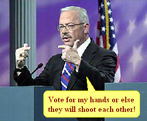 Vote for my hands or else they will shoot each other!