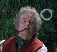 Bilbo blowing a smoke ring