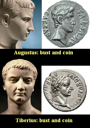 Augustus and Tiberius - coin and bust