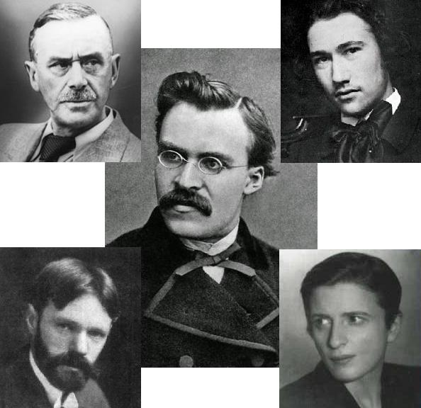 Nietzsche (center); Mann (upper left); Gide (upper right); Lawrence (lower left); Rand (lower right)