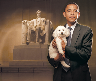 Obama holding 3-legged dog in front of Lincoln Memorial