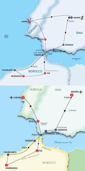 Trafalgar tours map